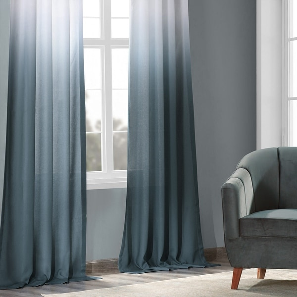 Exclusive Fabrics Ombre Faux Linen Semi Sheer Curtain. Opens flyout.