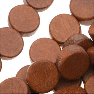 Pukalet Wood Beads, Dyed Round Coins 10x4mm, 40 Pieces, Bayong Brown Lacquer