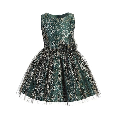 Sweet Kids Girls Green Sparkle Tulle Overlay Bow Christmas Dress