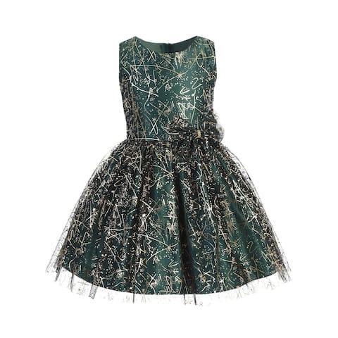 Sweet Kids Little Girls Green Sparkle Tulle Overlay Bow Christmas Dress