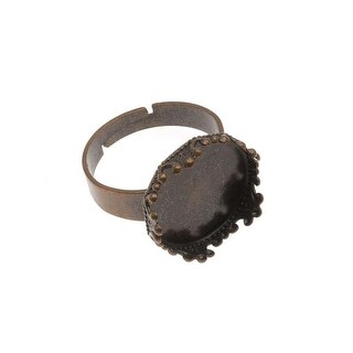 Silver Tone Brass 30mm Round Bezel Adjustable Ring (1)