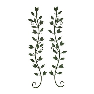 Set of 2 Green Leaves on Branches Metal Wall Sculptures
