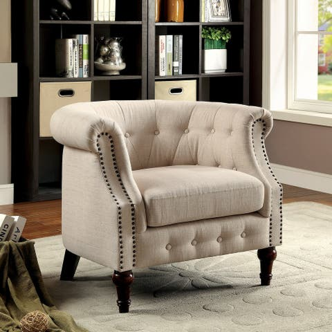 Furniture of America Cese Modern Ivory Linen Fabric Tufted Accent Chair