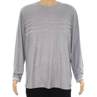 Alfani Steel Gray Mens Size XL Stripe Pullover Crewneck Sweater