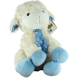 Beverly Hills Teddy Bear Company Plush Blue Lamb with Rattle