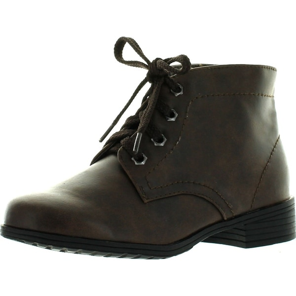 Little Angel Girls Jojo-212E Leatherette Round Toe Lace Up Military Bootie - Brown