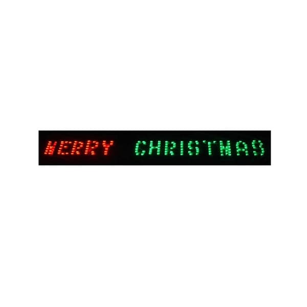 "80"" x 6"" Merry Christmas LED Lighted Holiday Banner - Red & Green Chasing Lights"