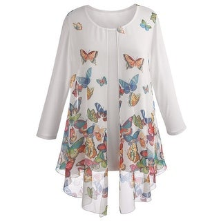 Women's Tunic Top - Sheer Flyaway Butterfly Blouse