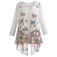 Women's Tunic Top - Sheer Flyaway Butterfly Blouse