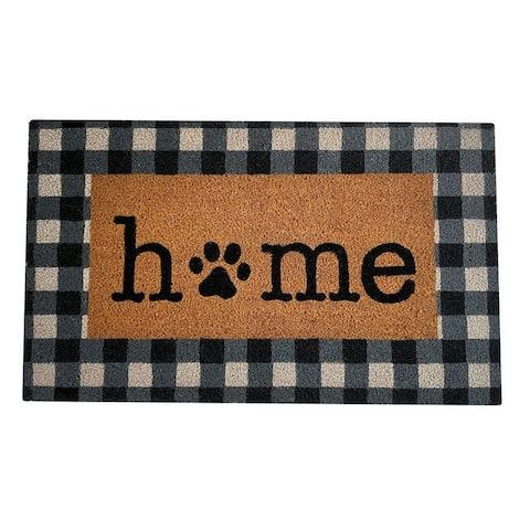 Farmhouse Living Paw Print Home Buffalo Check Coir Doormat