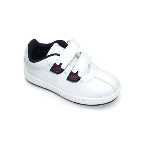 Pipiolo Boys White Navy Adhesive Strap Casual Sneakers