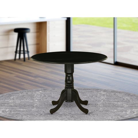 DLT-ABK-TP Rubber Wood Dining Table with Drop Leaves offering Black Finish
