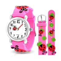 Bling Jewelry Girls Pink Ladybug Clover Kids Watch Stainless Steel Back