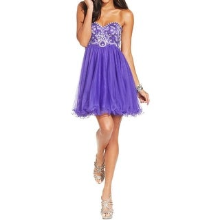 Blondie Nites Womens Juniors Semi-Formal Dress Tulle Beaded