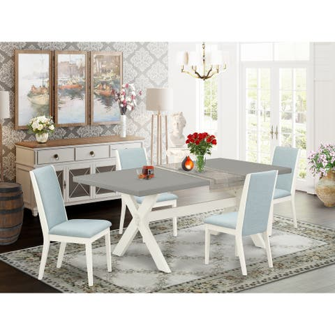 Dining Table Set contains a Cement Finish X-Style Dining Table and Parson Chairs - Linen White Finish (Chairs and Bench Option)
