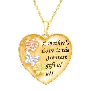 Inscripted Mom Heart Pendant with Flowers & Butterfly in 14K Yellow & Rose Gold-Plated Sterling Silver