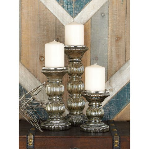 Clear Glass Traditional Candle Holder (Set of 3)