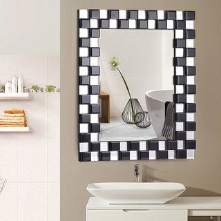 Costway 23.5'' x 31.5'' Rectangular Wall-Mounted Wooden Frame Vanity Mirror Glass Bathroom - as pic
