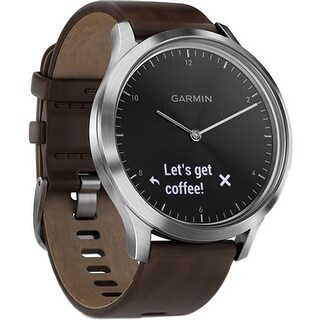 Garmin Vivomove HR Premium Sport Watch Stainless Steel with Leather Band (Large)