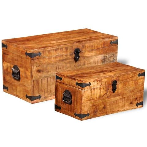 vidaXL Storage Chest Set 2 Pieces Rough Mango Wood - N/A