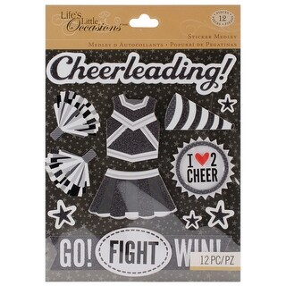 Life's Little Occasions Sticker Medley-Black & White Cheerleading - Black