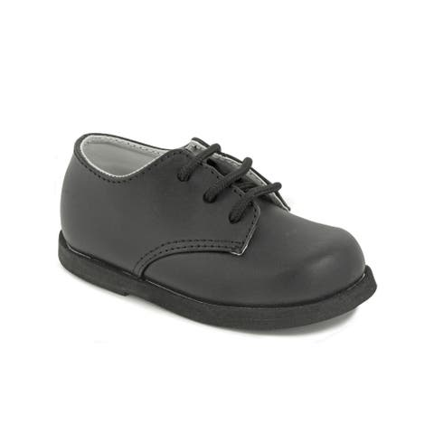 Baby Deer Boys Black Leather Lace Up First Steps Oxford Dress Shoes - 4 Baby