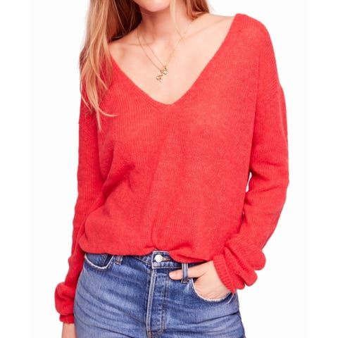 Free People Womens Sweater Pink Size Small S V-Neck Plunged Solid