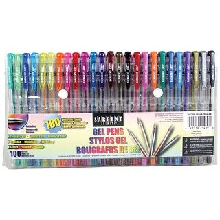 Sargent Art 22-1499 - 100Count Assorted Gel Pen Set - 100 Different Colors, Glitter, Metallic, Fluorescent