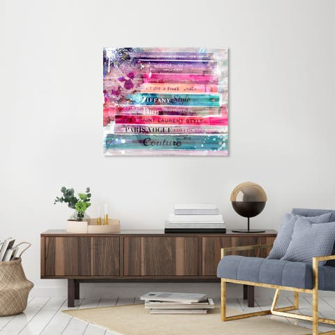 Oliver Gal 'Fashion Splash Library' Fashion and Glam Wall Art Canvas Print Books - Pink, Blue