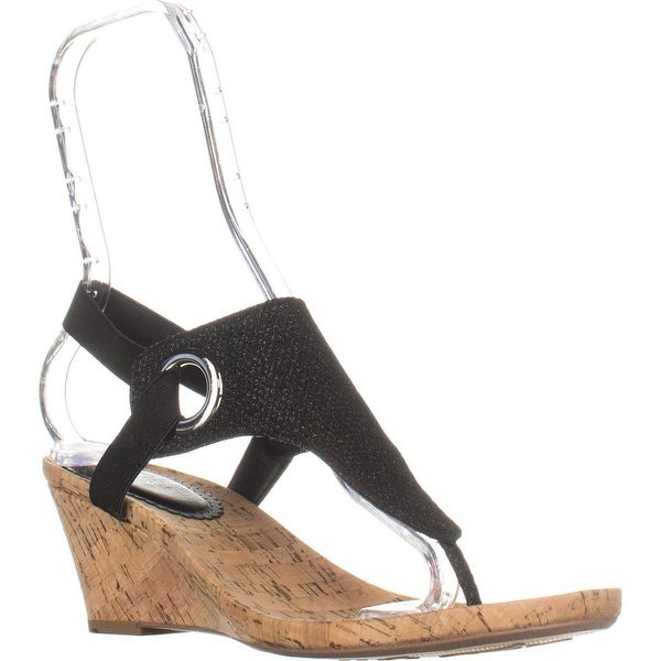 Shop White Mountain Aida Wedge Sandals Black Glitter
