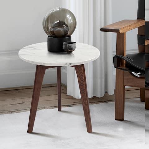"""Carson Carrington Tang 15-inch Round Italian Carrara Marble Table - 15.5""""L x 15.5""""W x 15.5""""H"""