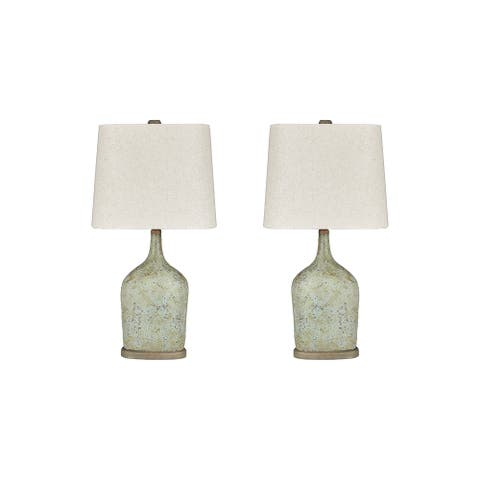 "Maribeth Vintage Casual Sage Paper Table Lamp - Set of 2 - 14""W x 9""D x 28""H"