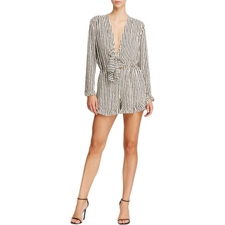Lucy Paris Womens Romper V Neck Lined
