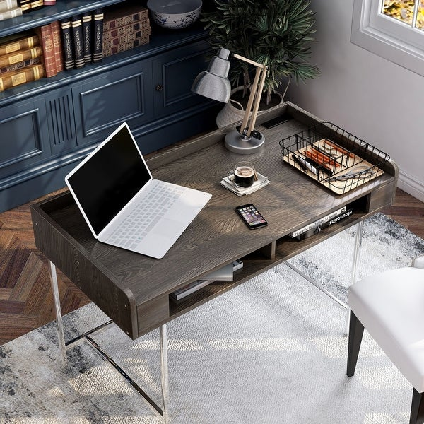 Furniture of America Yary Transitional Brown 47-inch Desk with USB Ports. Opens flyout.