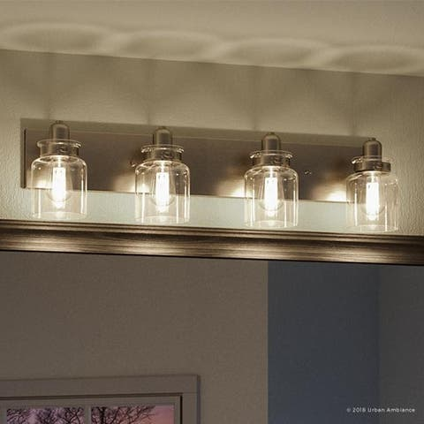 """Luxury Modern Farmhouse Bathroom Vanity Light, 8.625""""H x 30.25""""W, with Industrial Style, Brushed Nickel Finish by Urban Ambiance"""