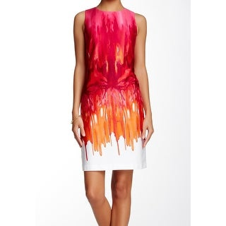 Calvin Klein NEW Pink Printed Women's Size 12 Sheath Cutout Dress