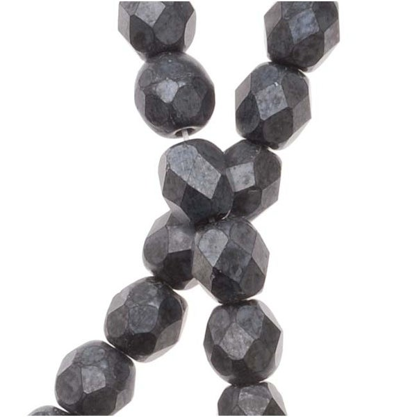 Czech Fire Polished Glass Beads 4mm Round Matte Hematite (50)