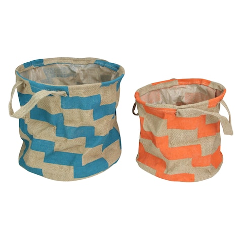 """Set of 2 Orange and Teal Burlap Baskets With Handles - 12"""" - N/A"""