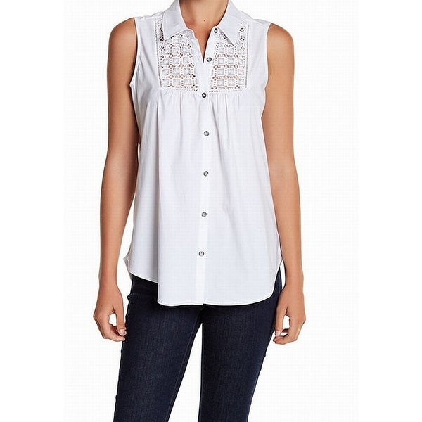 Shop Dr2 White Embroidered Crochet Large L Blouse Top Button Down
