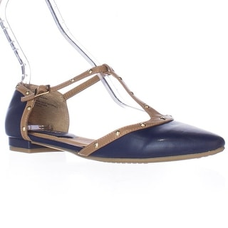 Rialto R6425 T-Strap Pointed Toe Studded D'Orsay Flats - Blue