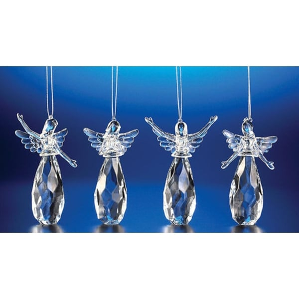"""Club Pack of 24 Icy Crystal Assorted Christmas Praising Angel Ornaments 4"""" - CLEAR"""