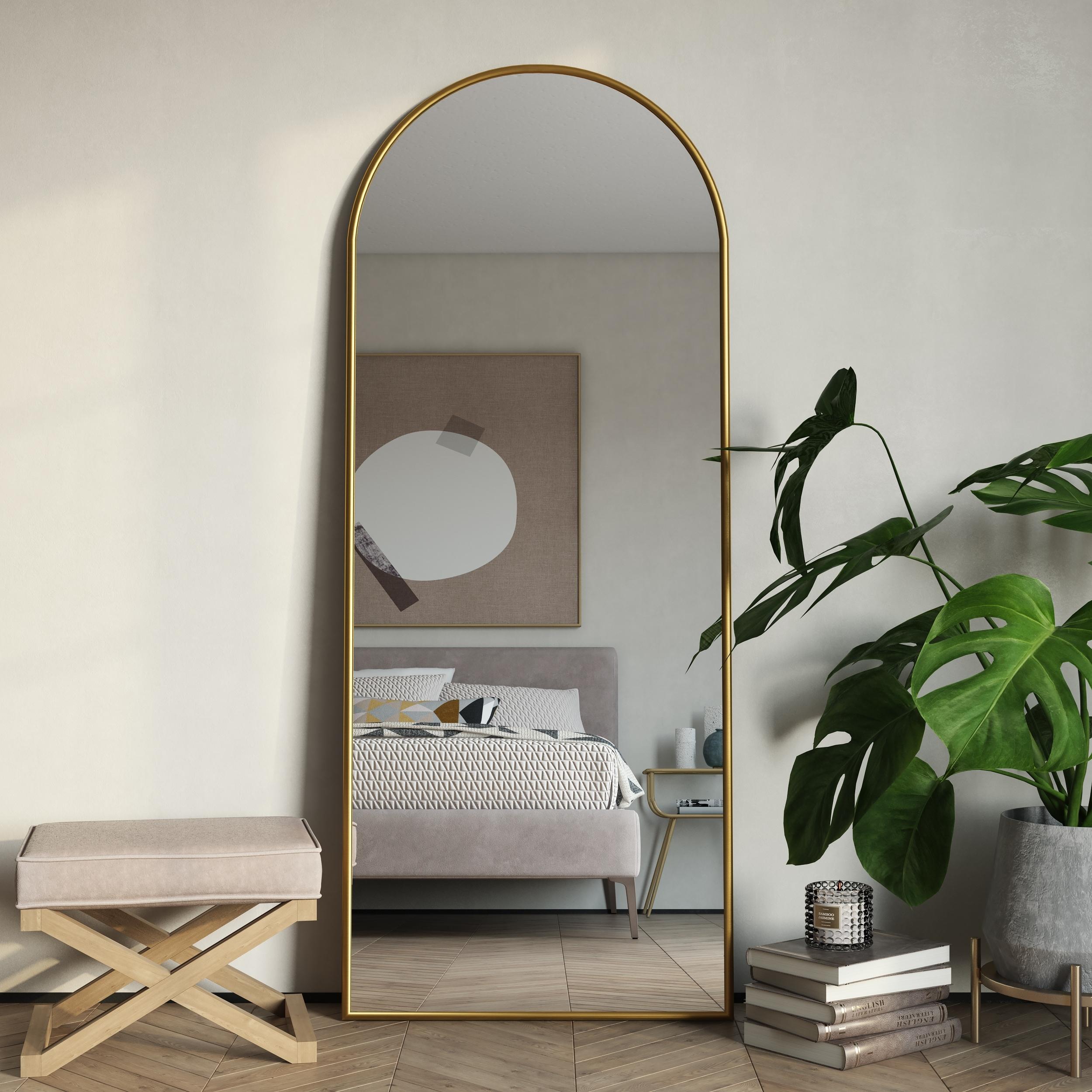 Nadia Modern Arch Floor Mirror 70 H X 28 W X 1 5 D Overstock 31053615