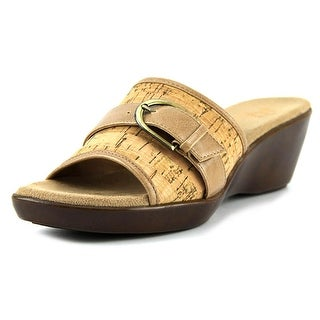 A2 By Aerosoles Eyes On You Women W Open Toe Canvas Tan Wedge Sandal