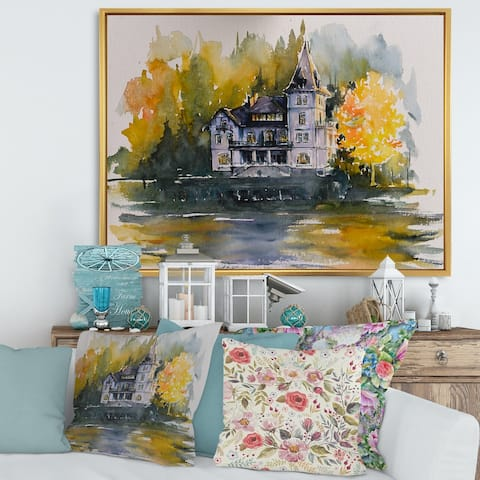 Designart 'Castle By The Lake With Autumn Trees' Lake House Framed Canvas Wall Art Print
