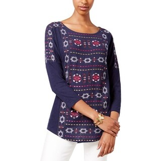 Lucky Brand Womens Casual Top Embroidered Slub