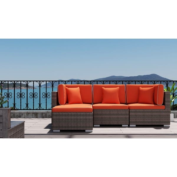 Saint Birch Carrington 4 Piece Rattan Sectional Seating Group With Cushions And Accent Pillow Overstock 32005514
