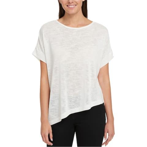 Tommy Hilfiger Womens Asymmetrical Basic T-Shirt, Off-white, X-Small