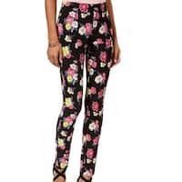 XOXO Black Pink Yellow Women's Size 4 Floral Print Stretch Pants