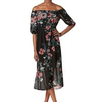 Bardot Black Women's Size Large L 10 Floral Sheer Shift Dress
