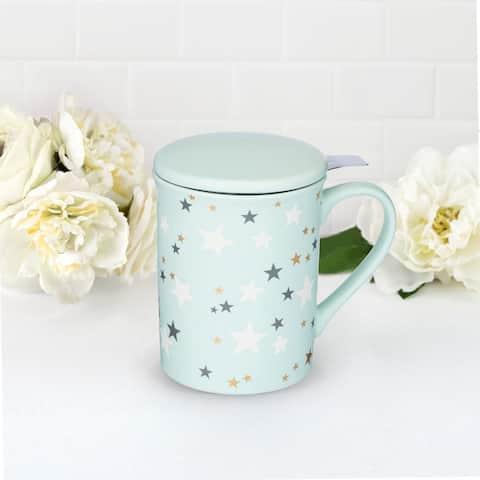 Annette Stars Mint Ceramic Tea Mug & Infuser by Pinky Up